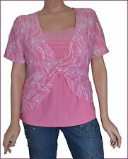 Pink 2X 18/20 Women's Plus Size Top Blouse Short Sleeve NWT NEW