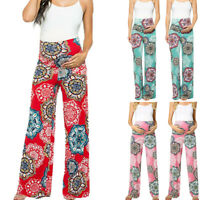 Women Maternity Floral Easy Straight Wide Leg Pants Casual Pregnancy Trousers ED
