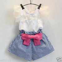 Toddler Kids Baby Girls Summer Clothes T-shirt Tops+Stripe Shorts Bow Hot Pants