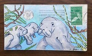 Everglades National Park #952 FDC, Kate Hayden cachet art, Manatees