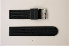 22mm Two pieces Black Rubber Silicon Tire Style WATCH BAND STRAP solid buckle