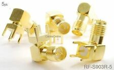 5-Pack RP-SMA Female Jack PCB Mount, Gold Plated Right-Angle RF Connectors