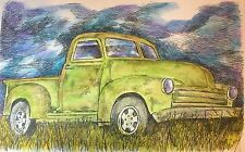 Old Truck - US, Small, Art Reproduction, Artist, Ink, Realism, Auto