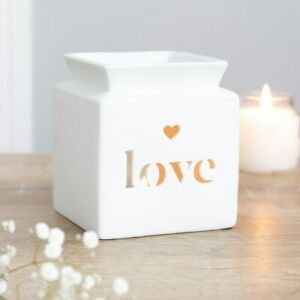 NEW & BOXED - Beautiful White Ceramic Love Heart Cut Out Oil Burner Or Wax Melts