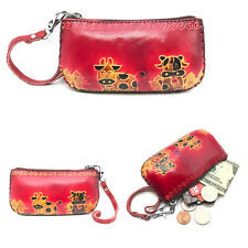 Ixyvia Genuine Leather Wallet Handmade Animal Cow Money Coin Purse Red