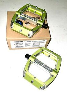 "Spank Spoon 90 Alloy Mountain Bike Flat Platform Pedals 9/16"" Green New inbox"