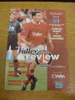 19/10/1996 Charlton Athletic v Bolton Wanderers  (team changes). Footy Progs (ak