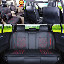 US 5-Seats Auto Car Seat Cover Cushion Front & Rear PU Leather w/Pillows L Size