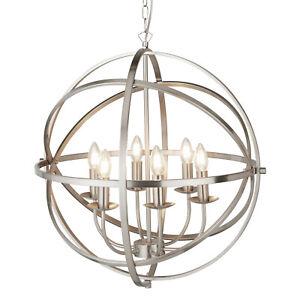 Searchlight Orbit 6 Lights Cage Frame Orb Satin Silver Chandelier Pendant Light