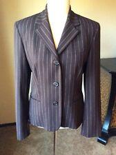 Ralph  Lauren Size 8 Wool Brown Chalk Stripe Blazer Jacket