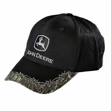 JOHN DEERE *BLACK w/CAMO ACCENT* Trademark Logo TWILL CAP HAT *NEW* C24