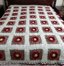 NEW HANDMADE CROCHET AFGHAN ROSES FLOWERS BEDSPREAD  80 x 96 Queen King