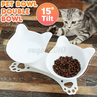 Non-slip Cat Double Bowls w/Raised Stand Pet Dish Food Water Bowl Dog Feeder