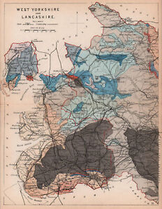 WEST YORKSHIRE & LANCASHIRE antique geological county map by James Reynolds 1864