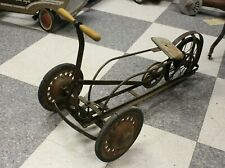Antique 3 Wheeled Irish Mail Hand Pedal Car Cart Belt Driven
