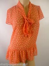 Ladies Pink/Beige Spotted Pussybow Tie Sheer Work Blouse Top UK 8 EU 36
