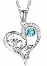 Personalized 925 Sterling Silver MOM Heart Pendant Name & Birthstone Necklace