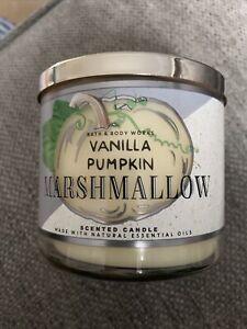 BN Bath and Body Works Vanilla Pumpkin Marshmallow 3 Wick Autumn Candle 2021