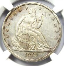 1861 Seated Liberty Half Dollar 50C Coin - NGC AU Details - Rare Civil War Date!