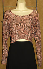 BETSEY JOHNSON - Pink - Snake Print - Rayon Blend - Cropped Blouse One Size NICE