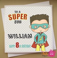 Personalised Birthday Card 'Superhero' boys 4th, 5th, 6th Son, Nephew, Grandson