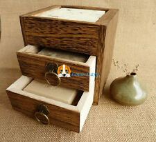 Natural Paulownia Wooden Soap holder Container drawer holds 3 soaps home bath