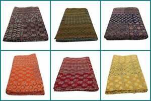 Hand Kantha Stitch Ajrak Throw Block Bohemian Bedspread Vintage Ethnic Quilt