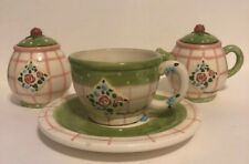 Mary Engelbreit 1998 Enesco Tea Set ~ Ceramic Pink-Green Rose Patch~Signed