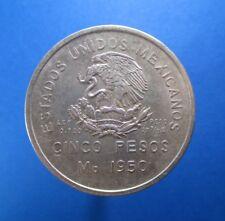 MEXICO 5 PESOS 1950 FERROCARRIL SILVER KM 466 #4148#