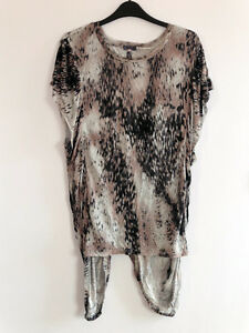 Gorgeous Grey & Black Longer Length Top with Gathered Sides from Next - Size 12