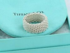 Tiffany & Co Somerset Sterling Silver Mesh Love Ring Sz 8.5 +Box & Pouch Lovely