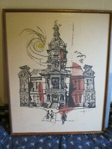 "R.O. Hodgell (1922-2000)  --  ""County Courthouse""  --  Linocut with Watercolor"