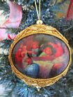 VINTAGE MACHE PICTURE ANGELS VISTS BABY JESUS & MARY GOLD CORDING XMAS ORNAMENT