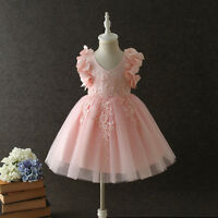 kid Princess Party Gown Flower Girl Lace Dress 3D Floral Wedding Bridesmaid Prom
