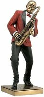 "SAXOPHONE PLAYER Bronze Statuette JAZZ BAND Collection, 11 3/8"", Unicorn Studio"