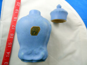 "6"" Camark Jar with Lid, Blue Perfume Bottle? Original Label and Marked on Bottom"