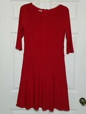 Anne Klein Women's Stretchy Dress ~ Sz 10 ~ Red ~ Knee Length ~ 3/4 Sleeves