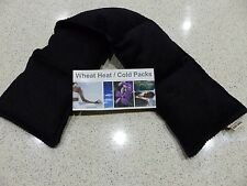 WHEAT BAGS HEAT PACKS  Long 5 sectioned BLACK 65 x 14 Neck, Shoulder - UNSCENTED