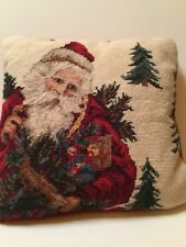 Beautiful Vintage Santa needle point pillow Approximately 13� Square.