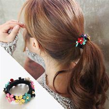 2pcs Women Girls Flower PonyTail Elastic Rubber Hair Band Tie Rope Ring Fashion