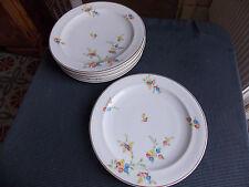 Raynaud & Cie 6 assiettes plates décor fleur et filets dorés porcelaine  Limoges