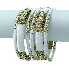 Goldtone Metal White Thread Wrapped 6pcs Bangle Set Indian Fashion Jewelry 2*12
