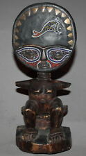 VINTAGE AFRICAN ASHANTI ORNATE HAND CARVING WOOD STATUETTE