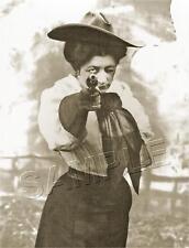 VINTAGE WESTERN DEAD-EYE COWGIRL RODEO PISTOL GUN ANTIQUE PHOTO *CANVAS* ART