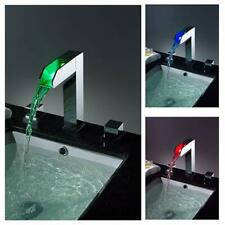 LED Waterfall Colors Changing Bathroom Basin Mixer Sink Faucet (HDD739)