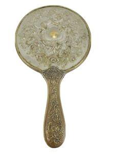 Antique Handheld Vanity Mirror Cherub Angel Flowers Gold Silver Victorian