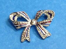 Patriotic Rhinestone Silver Ribbon Red White and Blue Bow USA Flag Pin #21