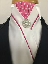 HHD WHITE SATIN Pre-tied SHOW HORSE STOCK TIE HOT PINK PIPING, Pink Poka Dot