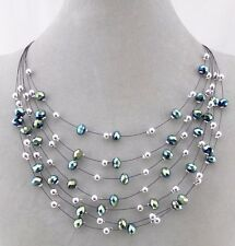 Layered Green And Silver Bead Necklace Sparkly Fashion Jewelry NEW