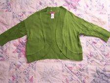 Sunny Leigh womens sweater size XS, lime green open front cardigan, bolero
